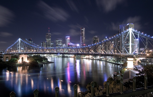 Picture bridge, lights, river, home, skyscrapers, night city