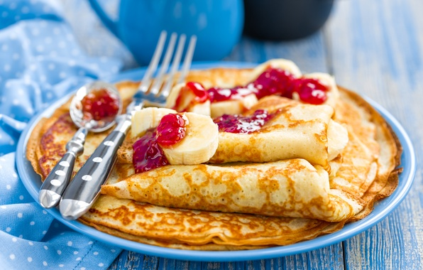 Picture bananas, pancakes, cakes, jam, banana, pancakes