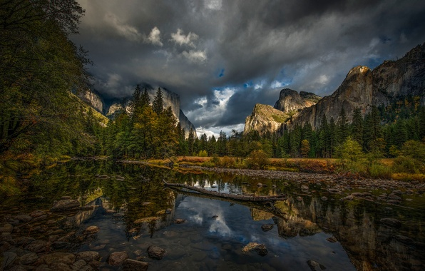 Picture autumn, forest, the sky, mountains, clouds, river, CA, USA, Yosemite National Park
