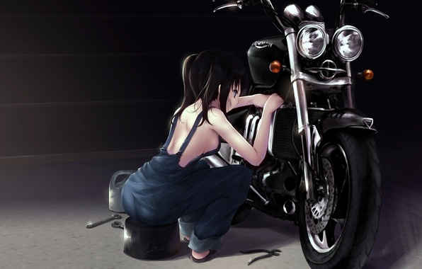 Photo wallpaper motorcycle, repairs, repair, black hair