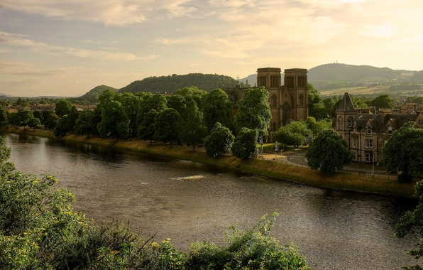 Picture trees, landscape, nature, the city, river, castle, Scotland, hill, Cathedral, UK, Scotland, Great Britain, St …