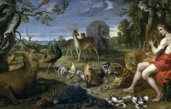 Picture animals, painting, Art, the Golden age, Lira