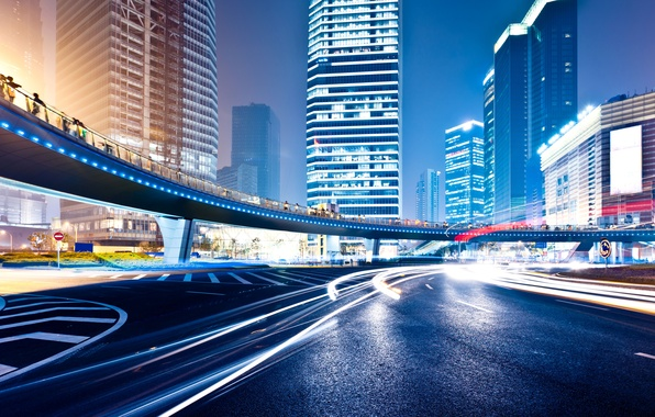 Picture road, night, lights, movement, markup, building, round, neon, signs, megapolis, high, traffic, Big city night