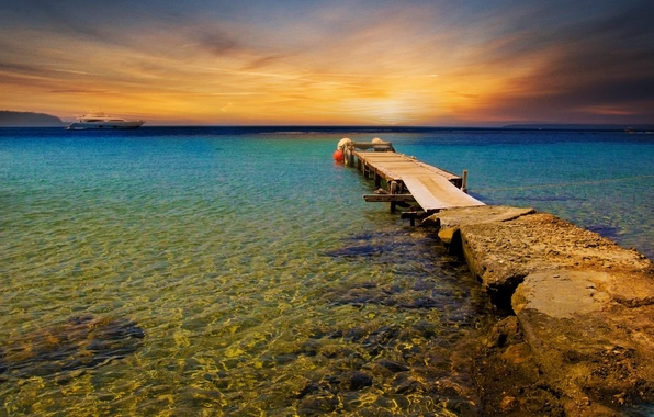 Picture sea, beach, the sky, water, landscape, sunset, liner, the bridge