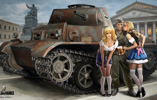 Picture the city, girls, figure, easy, beer, area, art, soldiers, monument, mug, tank, blonde, waitresses, uniform, …