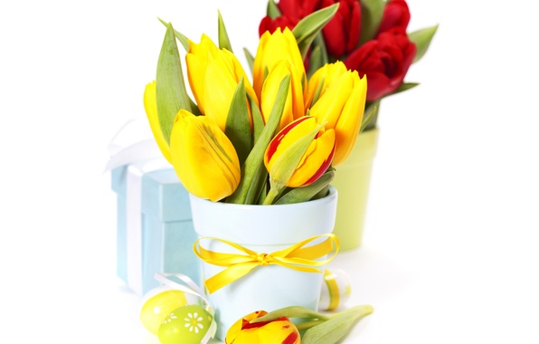 Picture photo, Flowers, Tulips, Easter, Eggs, Vase, Bouquet, Bow, Gifts