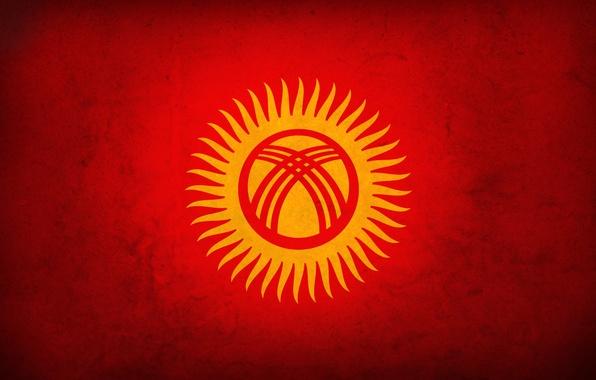 Picture red, flag, kyrgyztan, Kyrgyzstan