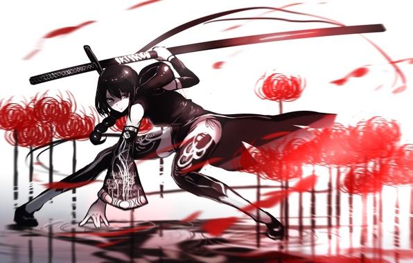 Picture girl, flowers, weapons, katana, anime, art, fufu, fufuichi04
