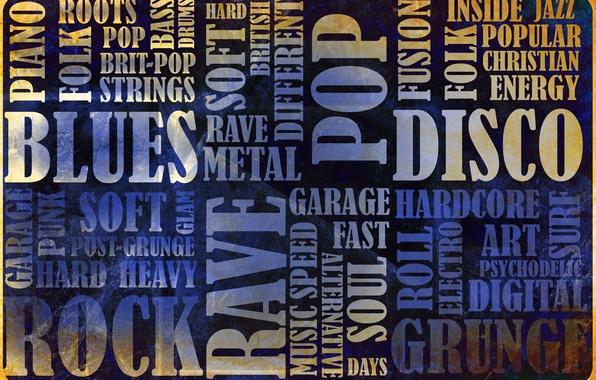 Picture music, rock, Blues, vintage, vintage, grunge, grunge, disco, folk, blues, genres, rok, rave, rave, glam, …