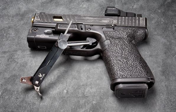 Picture macro, gun, background, Glock 19, self-loading