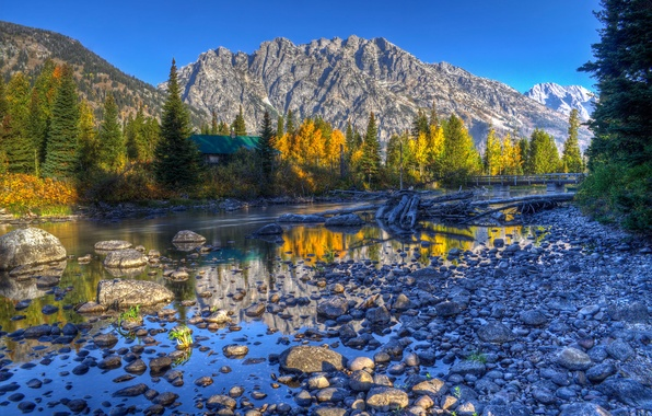 Picture autumn, the sky, trees, mountains, lake, house, reflection, river, spruce, hdr, USA, Wyoming, grand teton …