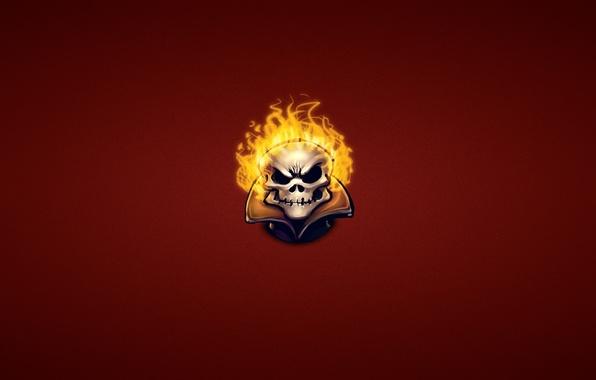 Picture fire, skull, minimalism, head, skeleton, Ghost Rider, Ghost rider