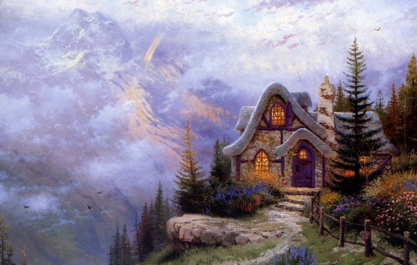 Picture mountains, house, landscape, spruce, painting, cottage, stone, Thomas Kinkade, the slope of the mountain, Sweetheart …