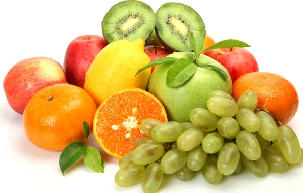 Picture berries, lemon, apples, kiwi, grapes, fruit, citrus, tangerines
