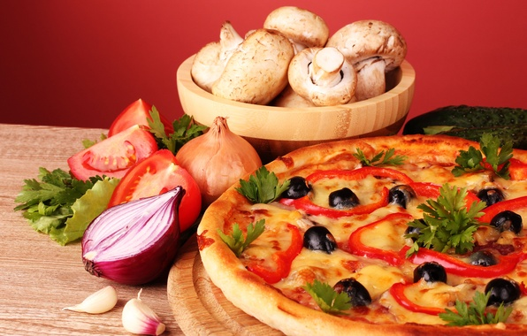 Picture mushrooms, bow, still life, pizza, tomatoes, olives, parsley, garlic, mushrooms, paprika