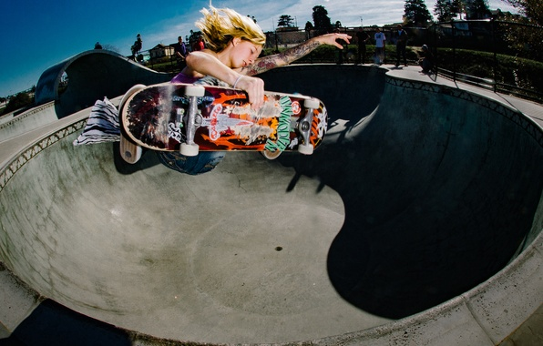 Picture the sky, people, jump, bowl, tattoo, skateboarding, solar, skateboard, extreme sports
