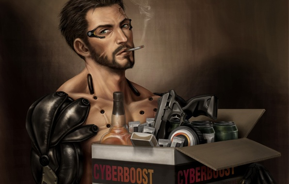 Picture box, cigarette, cyborg, smokes, Deus Ex: Human Revolution, deus ex, Adam Jensen, Deus Ex: Mankind …
