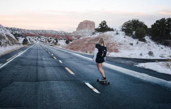 Photo wallpaper girl, landscape, nature, mountains, rocks, snow, Road,