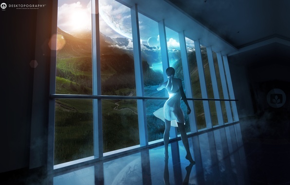 Picture girl, clouds, landscape, river, planet, view, dress, window, girl, window, Fantasy world, fantasy world
