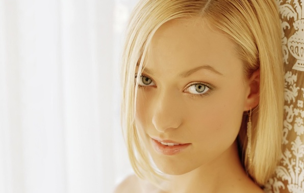 Picture eyes, look, girl, face, smile, background, portrait, light, actress, Olivia Wilde, blonde, House, House, the …