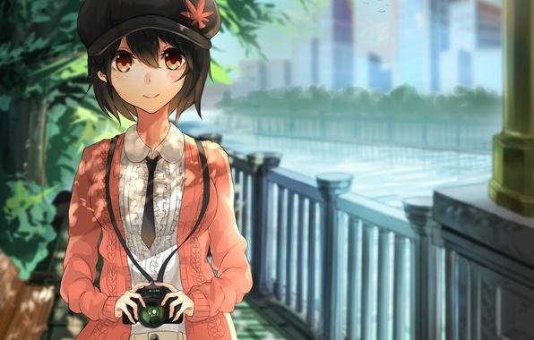 Picture girl, trees, river, street, the fence, art, cap, touhou, the camera, shameimaru aya, akira