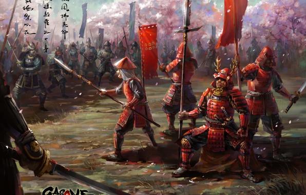 Picture weapons, Asia, sword, katana, army, art, spear, armor, army, banner, samurai