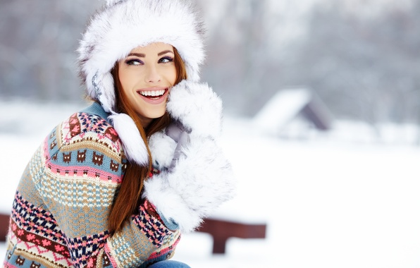 Picture winter, look, girl, snow, joy, house, hat, laughter, brown hair, sweater, mittens
