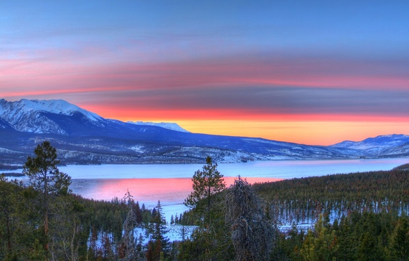 Picture winter, sunset, lake