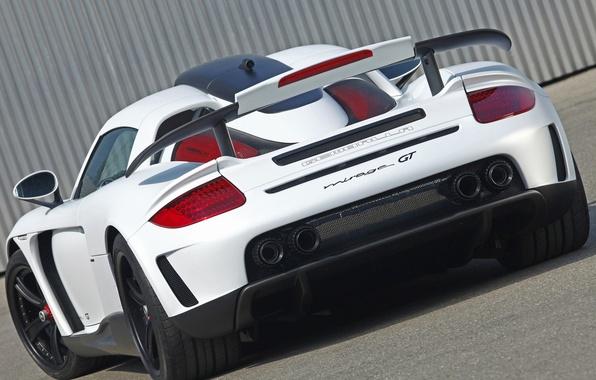 Picture white, tuning, Porsche, supercar, spoiler, Porsche, rear view, Carrera GT, tuning, wing, gembala, mirage gt, …