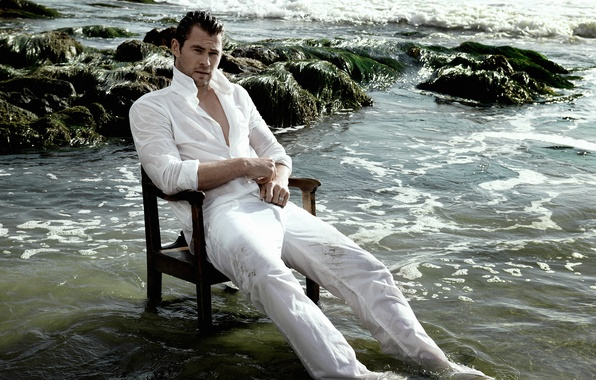 Picture sea, wet, shore, photographer, actor, journal, sitting, resting, in white, in the water, on the ...
