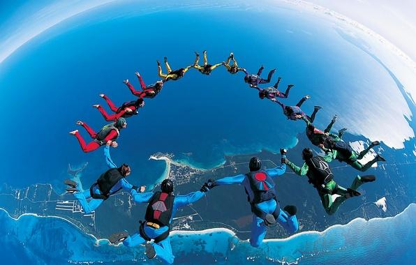 Picture flight, jump, Earth, parachuting