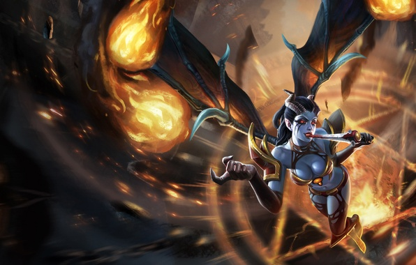 Picture girl, fire, blood, wings, armor, claws, dagger, pentagram, DotA, Defense of the Ancients, Queen of …