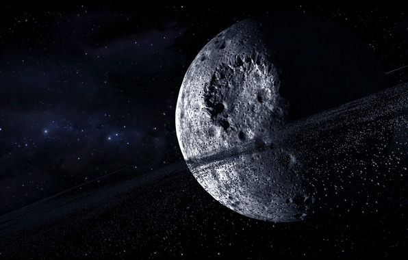 Picture space, stars, planet, asteroids, ring, craters, multi monitors