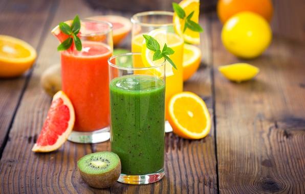Picture orange, kiwi, juice, glasses, drinks, mint, grapefruit, fresh