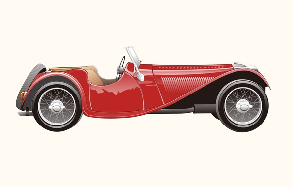 Picture retro, Jaguar, vector, 1937, SS100