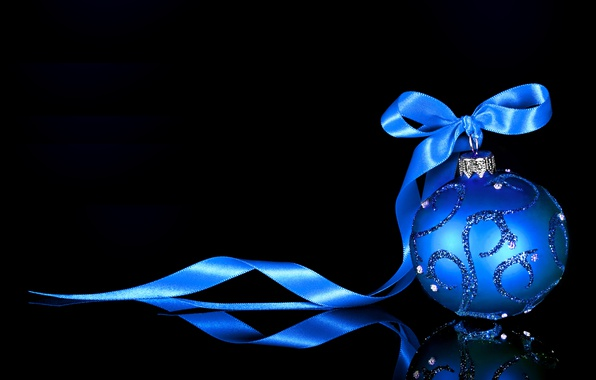 Photo wallpaper reflection, toy, ball, tape, New year, black background, Christmas toy