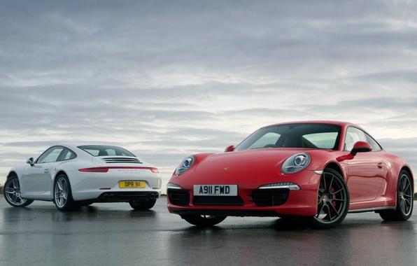 Picture white, the sky, red, 911, Porsche, Porsche, Carrera, Carerra, 991