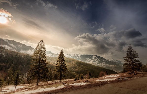 Picture road, the sky, the sun, clouds, snow, trees, landscape, mountains, tops, slope, Romania