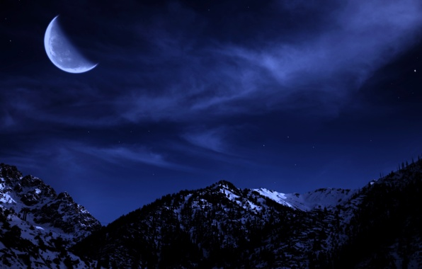 Picture winter, forest, the sky, stars, snow, trees, mountains, night, the moon