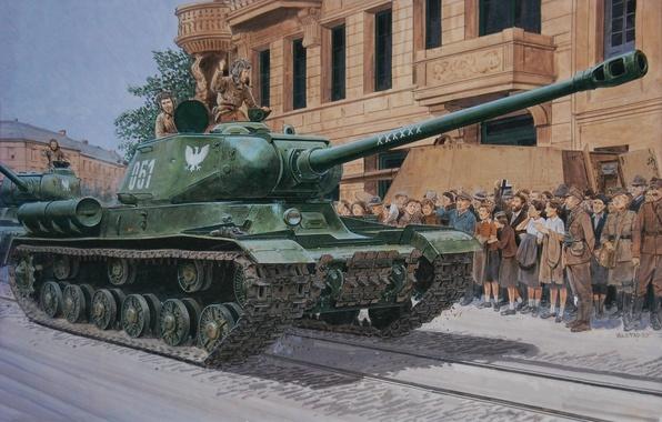 Picture road, street, figure, home, art, people, tanks, The is-2, column, tankers, Soviet, heavy, liberators