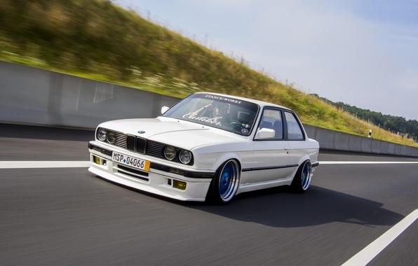 Picture BMW, Speed, White, BMW, sport, Track, White, E30, BBS