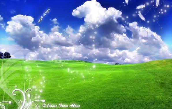 Photo wallpaper clouds, landscape, labels, landscape, serenity, ease