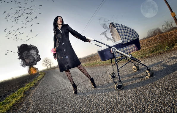 Picture road, girl, the explosion, style, the situation, stroller