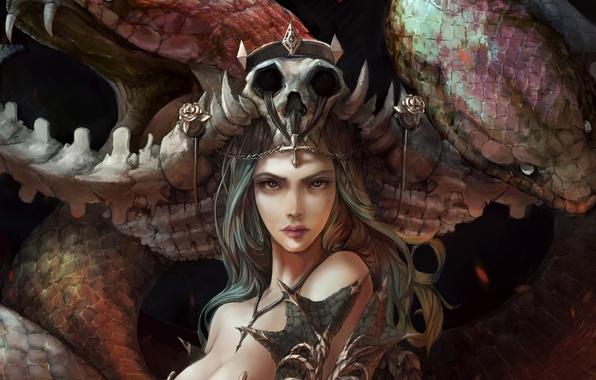 Picture look, girl, skull, roses, snake, art, fantasy