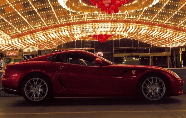 Picture lights, the evening, car, ferrari, red