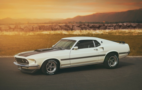 Picture white, Mustang, Ford, Mustang, white, Ford, Mach 1