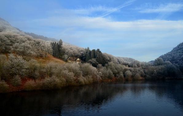 Picture landscape, lake, house