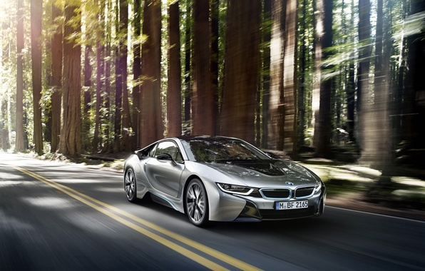 Picture car, auto, forest, BMW, in motion, BMW i8
