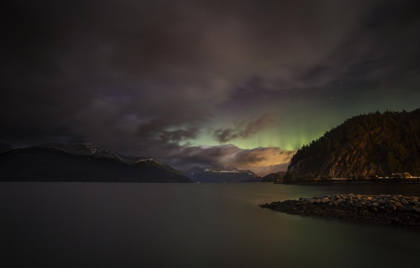 Picture the sky, stars, mountains, night, lake, river, Northern lights