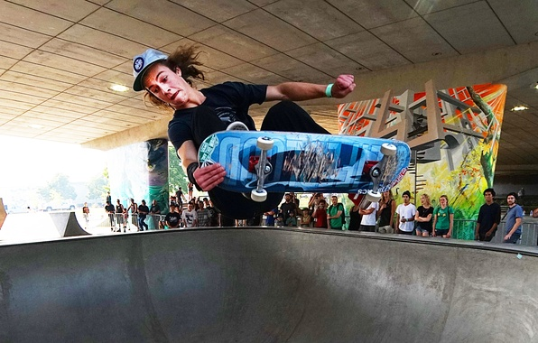 Picture people, jump, graffiti, bowl, skateboarding, skateboard, extreme sports, viaducts